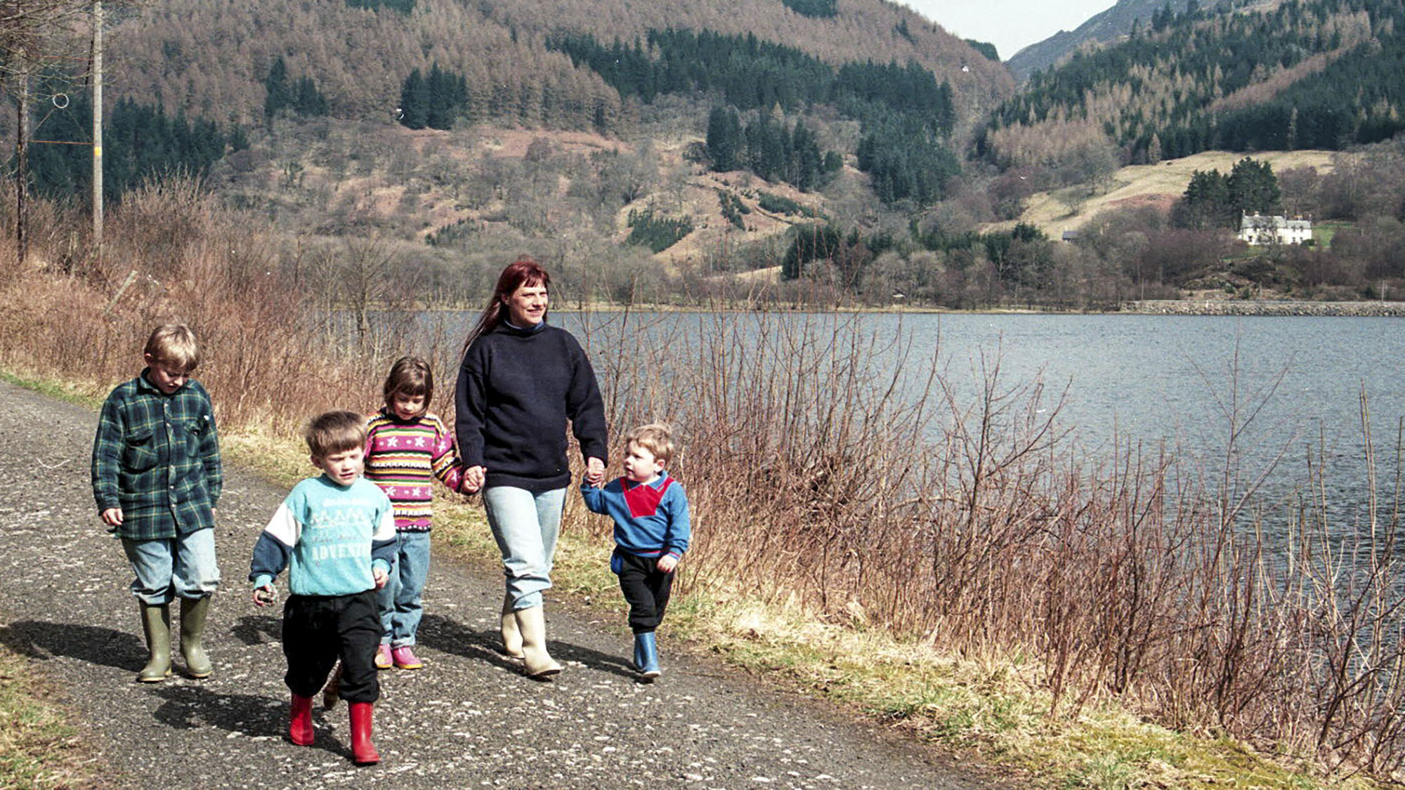 Lesley and family, Scotland 1995