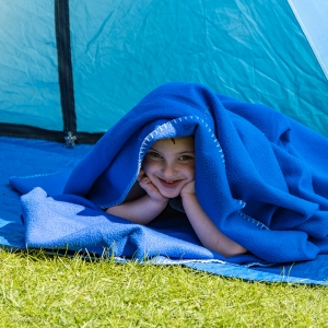 Florence having fun in the garden tent