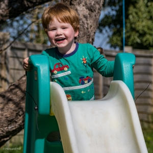 Harry has another go on the slide